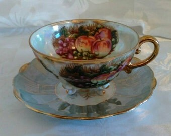Vintage Iridescent Tea Cup and Saucer - Royal Sealy - Beautiful Fruit Design and Colors