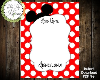 Disney Vacation Countdown, Disneyland Countdown, Disney World Countdown, Days until Disney Printable, Disney Countdown Printable