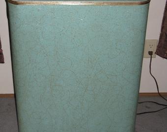 Mid Century Modern vinyl over wood clothes hamper Bloc-Bilt made in Chicago sea-foam green turquoise