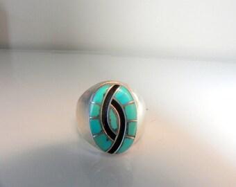 Zuni American indian turquoise inlay ring