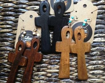 Wood Ankh Earrings