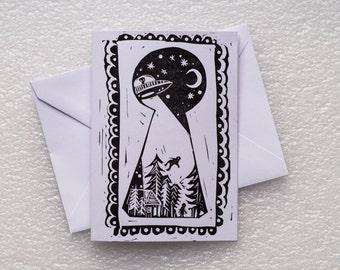 Card Lino Print / Aliens A6