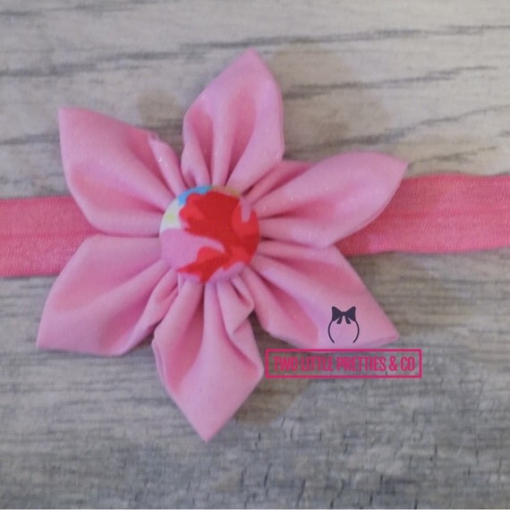 Large Glitter Pink Fabric Flower Headband | Baby Girl | Hand Sewn