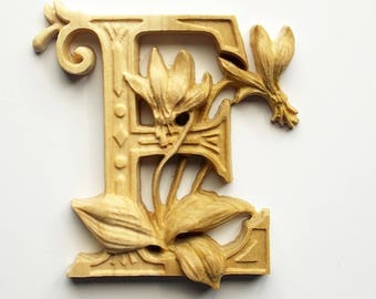 """Wooden Letter E + Erythronium Flower - 10"""" x 8"""" Tall - Wood Carved Letter E - Wood Letter Wall Decor - Letter E Wood Decor - Wood Carving"""