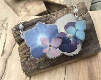 Hydrangea - Pressed Flower Necklace