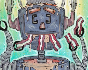 Original Painting - Baconbot - Robot Bacon Machine 6x8 inches