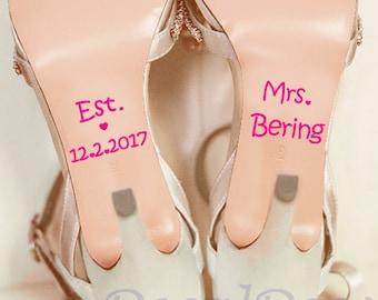 Wedding Shoe Vinyl Deco Decal Sticker for Bridal Wedding Shoe Decal / Wedding Shoe Sticker / Personalized Wedding  Something Blue