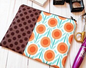 SALE! Orange Flower With Polka Dot Medium Zipper Pouch