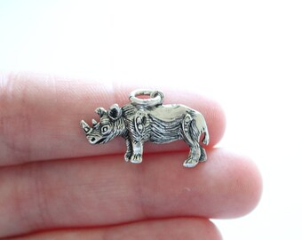 Sterling Silver Rhinoceros Charm, Rhino Charm, Rhino Pendant, Rhinoceros Charm, Rhinoceros Pendant, Silver Rhino Charm, Silver Rhinoceros