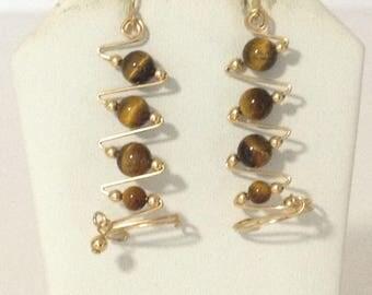 Tiger Eye Brown Zig Zag Wire Pierced Dangle Earrings Goldtone ts15-090
