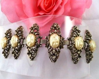 1940s-50s Unsigned SELRO  Ornate Faux Pearl EXTRA WIDE Panel Bracelet