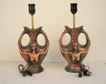 pair table lamp vintage electric of ceramic covered with copper sheet, abat-jour built in Italy for independence of countries African 1960