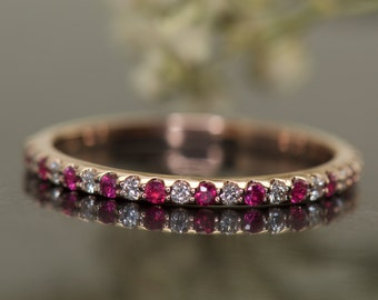 Ruby and Diamond Wedding Band in Rose Gold, Shared Prong Set, 3/4 Eternity Band, Layla R