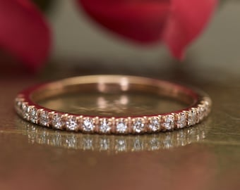 French Pave Diamond Wedding Band in 14k Rose Gold, Diamond Band, 1.6mm Wide, 1/2 Eternity, Stackable, Francesca