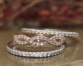 Stackable Diamonds Ring Set in 14k White & Rose Gold, 3 Separate 1/2 Eternity Bands, Twist and Shared Prong, Petite Bella B and Hailey Anne