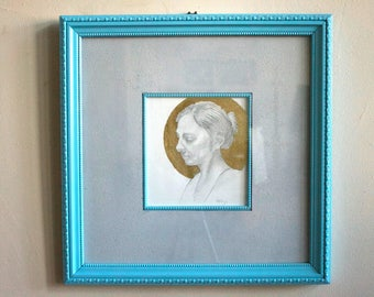 "Original Framed Classical Naturalism Female Portrait Modern Art 18""x18"" Pencil Drawing with Gold Leaf on Watercolor Paper"