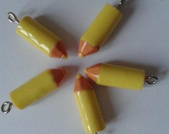 yellow crayon charms, yellow pencil charms, kawaii crayons, kawaii pencils, kawaii charms, pencil charm, crayon charm, uk seller, charms