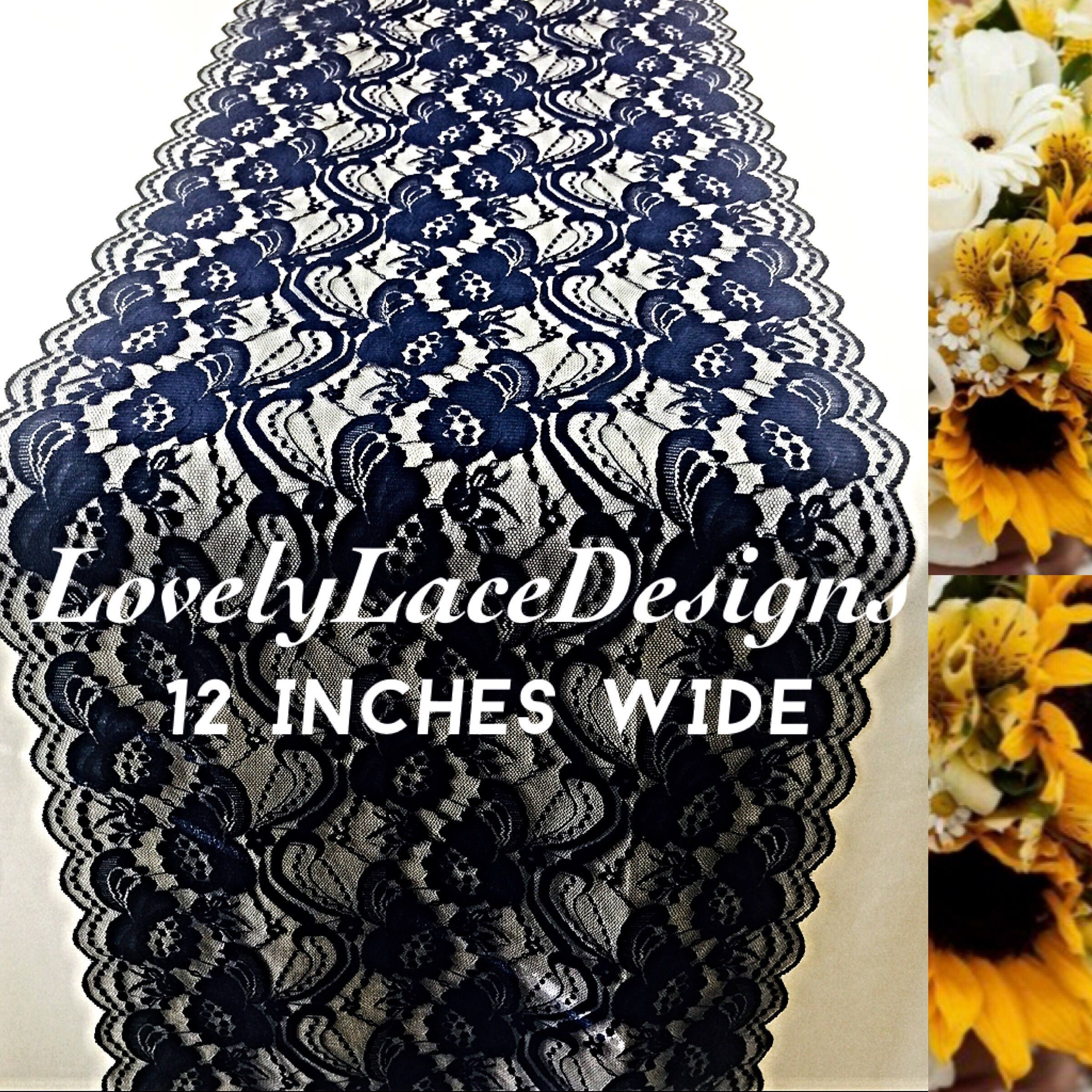 10ft NAVY BLUE Lace/Table Runner/12 Wide/Dark Navy Blue/Wedding Decor/Table  Decor/NAVY Decor/Centerpiece/Weddings/Ends Not Sewn