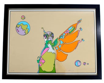 Mid Century Modern Crab Nebula Man Serigraph Signed & Dated by Peter Max 1971