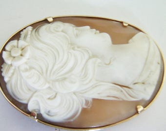 Large Shell Cameo  Brooch / Pin / Conch Shell Cameo Brooch / Pin / Large Brooch / Pin / Cameo Jewelry / Shell Jewelry / 14kt Brooch / Pin