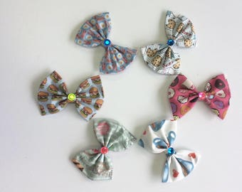 Fabric hair bows - cotton hair bows - fabric hair clips - baby barrettes  - baby barrettes - girls barrettes- baby headbands - baby girl