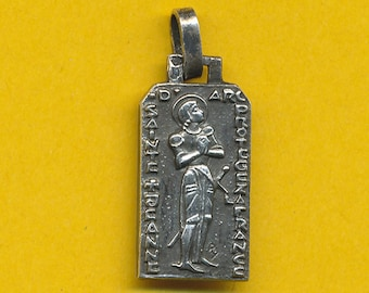 Fernand Py ART DECO French sterling silver religious charm medal St Joan of Arc - St Jane of Arc (ref 0810)