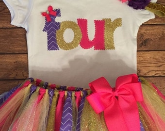 Hot Pink, Purple, and Gold Birthday Tutu Outfit