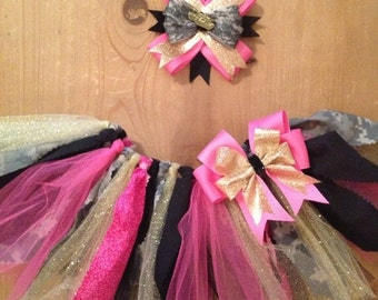 Hot Pink, Gold, Black, and Army ACU Camo Scrap Fabric Tutu and Bow Set