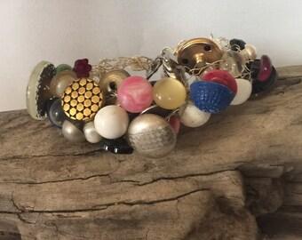 "Handcrafted Wire Crochet Vintage Button Bracelet 9"""