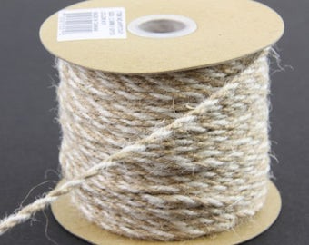 2.5MM IVORY and NATURAL Braided Jute Ribbon - Rustic Crafts - CUT to Order - by the yard