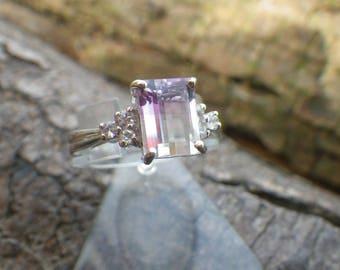 9ct White Gold Diamond Bi Coloured Ametrine Ring