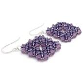 Romantic Gift Jewelry, Colorful Earrings Women, Seed Bead Earrings, Purple Earrings, Romantic Earrings, Beaded Earrings, Drop Earrings
