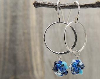 Everyday Blue Earrings, Blue Dainty Earrings, Blue Delicate Earrings, Silver Dainty Earrings, Sterling Silver, Blue Earrings