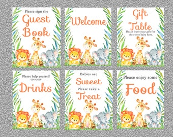 Jungle Baby Shower Table Signs, Set Of 6 Printable Safari Baby Shower  Signs, INSTANT