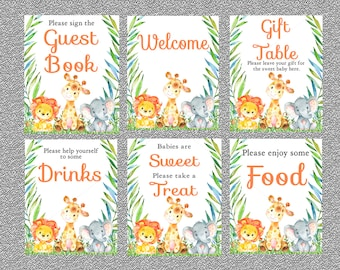 jungle baby shower signs set of 6 printable signs safari baby shower signs