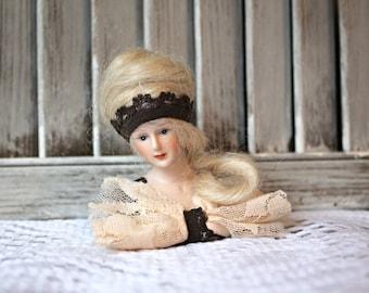 Vintage. Doll bust. Half doll. Handmade.