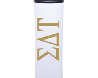 Sigma Delta Tau Tumbler Water Bottle | Bid Day Rush Gift | GOLD