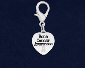 25 Bone Cancer Awareness Heart Hanging Charms in Bags (25 Charms) (HC-HRT-15BC)