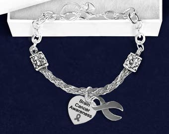 Brain Cancer Gray Ribbon Partial Rope Bracelet in Gift Boxes (1 Bracelet - Retail) (RE-B-18-7BC)