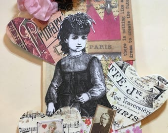 Mixed Media Gift Tag of Victorian Woman Surrounded By Hearts Used for Gift Tag, Scrapbooks, Mixed Media, Junk Journals and Paper Crafts.