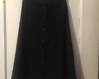 1970s faux-suede button-down skirt, dark blue