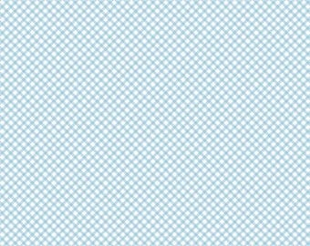 Bunnies and Cream by Lauren Nash by Penny Rose Designs - Gingham Print in Blue- 1/2 yard
