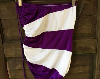 Vintage 80's Strapless Purple and White Striped One Piece Swimsuit by Catalina size Large