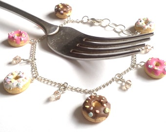 Donut Bracelet,Donut Jewelry,Food Jewelry,Miniature Food,Sprinkled Donuts,Chocolate Donuts,Novelty Bracelet,Novelty Gifts,Sweet 16 Gifts