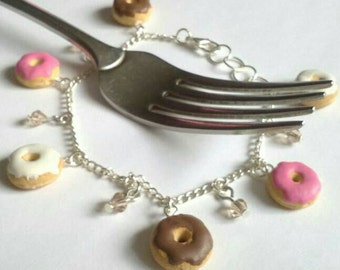 Doughnut Bracelet,Doughnut Jewlery,Charm Bracelet,Novelty Gifts,Funny Gifts,Funny Jewelry,Teen Girl Gifts,Chocolate Donut,Donut Lovers