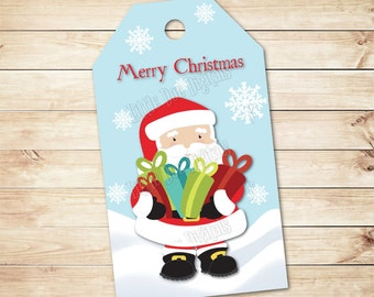 """INSTANT DOWNLOAD - Merry Christmas Santa Gift Tags 2""""x3.5"""" - Party Favor - Christmas Treat Tag - Tag Printable - Gift Bag Tags - Red Green"""