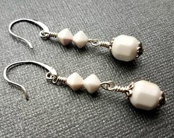 Vintage white ab czech glass earrings-white and silver dangle earrings-vintage czech earrings-white earrings-white and silver earrings