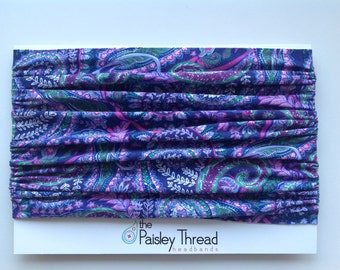 Purple Paisley Stretchy Cotton Wide Boho Headband