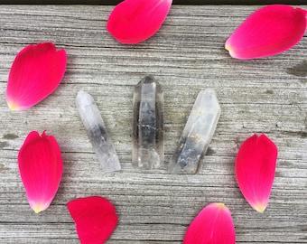 Lot of 3 Raw Black Phantom Tibetan Quartz Crystal Points