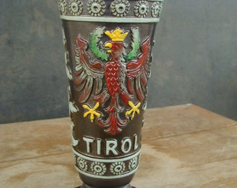 German Stoneware Beer Stein Chalice Austrian Coat Of Arms Original King  Tirol Austria Crest Vase Stone